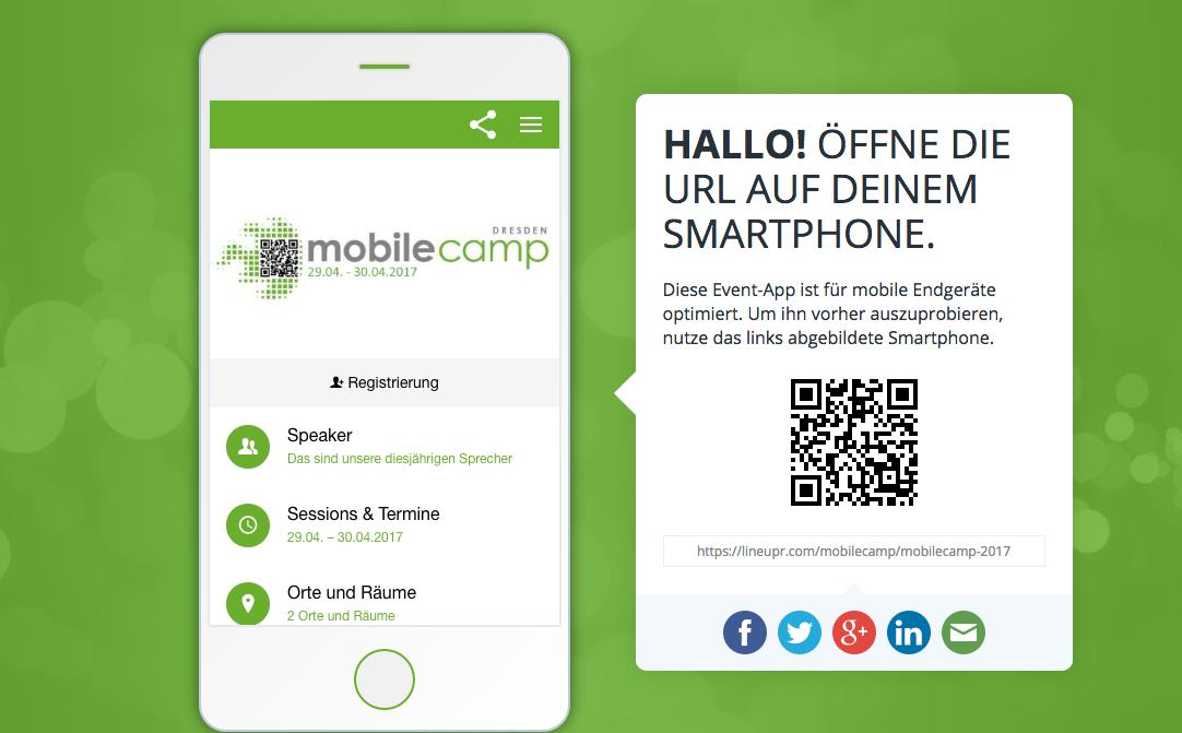 Lineupr App für das neunte MobileCamp