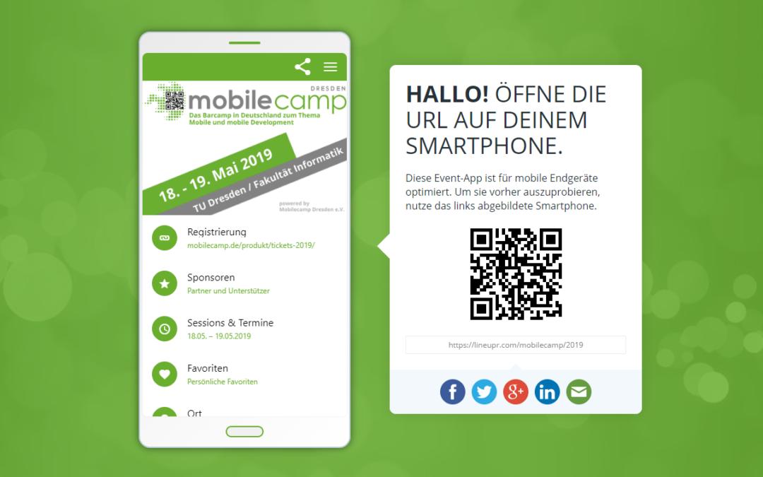 Die MobileCamp-App von LineUpr